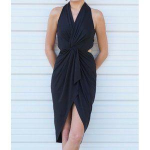 NWT Twist Knot Open Back Black Midi Dress